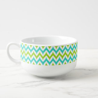 White, Green and Turquoise Zigzag Ikat Pattern Soup Mug