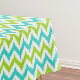 White, Green and Turquoise Zigzag Ikat Pattern Tablecloth