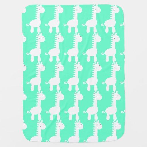 White & Green Baby Mod Giraffe Baby Blanket Stroller Blankets