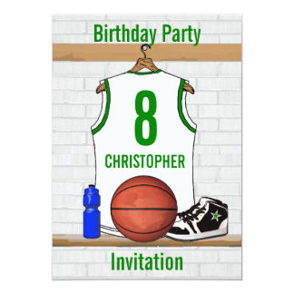 """White Green Basketball Jersey Birthday Party 5"""" X 7"""" Invitation Card"""