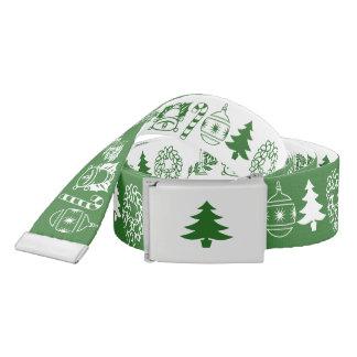White/Green Christmas Font Art Pattern Belt