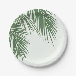 White Green Elegant Tropical Palm Leaves Wedding Paper Plate