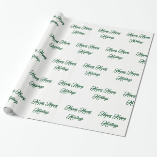 White & Green -  Happy Happy Holidays - Wrapping Paper
