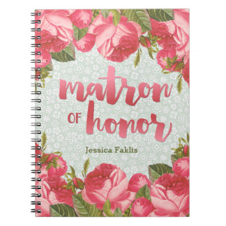 White & Green Lace Matron-of-Honor Wedding Spiral Notebook