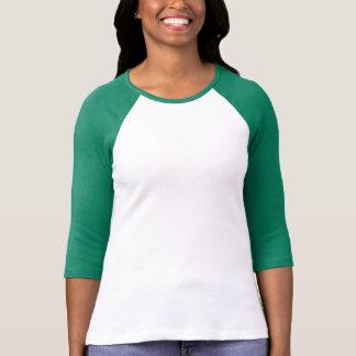 WHITE GREEN : Ladies 3/4 Sleeve Raglan (Fitted) T-Shirt