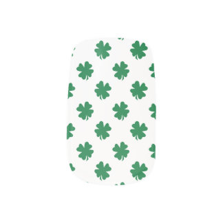 White green shamrocks minx nail art