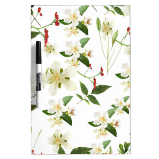 WHITE GREEN WHIMSY FLORALS SHABBY CHIC Dry-Erase BOARD