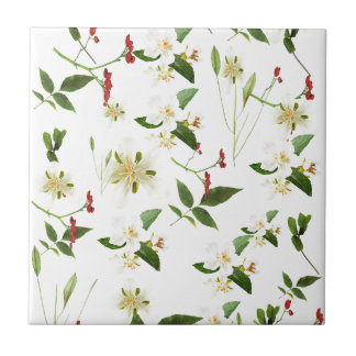 WHITE GREEN WHIMSY FLORALS SHABBY CHIC TILES