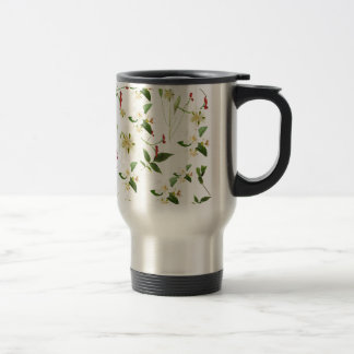 WHITE GREEN WHIMSY FLORALS SHABBY CHIC TRAVEL MUG
