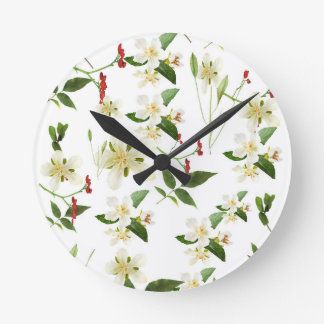 WHITE GREEN WHIMSY FLORALS SHABBY CHIC WALLCLOCKS