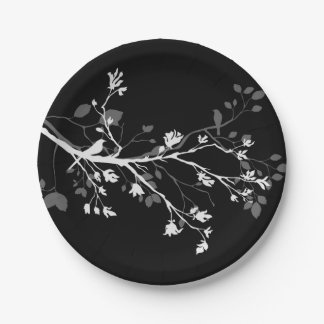 White Grey Black Bird Branches Paper Plate