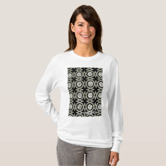 White Grey Black Rosette Zig Zag Pattern T-Shirt