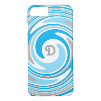 White Grey Blue Swirl Abstract Monogram iPhone 8/7 Case