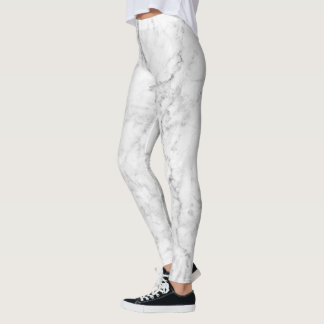 White & Grey Marble Stone Design Leggings