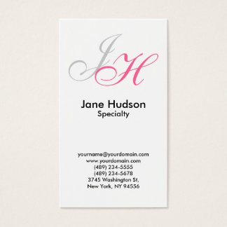 White Grey Monogram Simple Plain Business Card