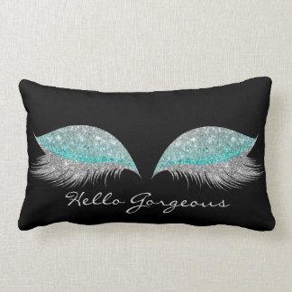 White Grey Tiffany Makeup Lashes Gorgeous Black Lumbar Pillow