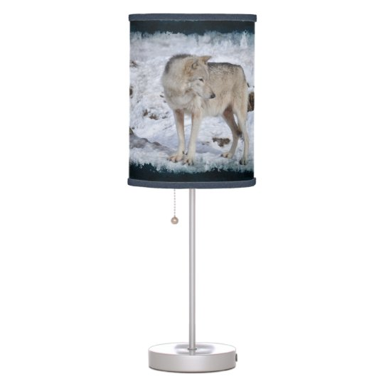 White Grey Wolf and Snow Winter Wildlife Photo Desk Lamps