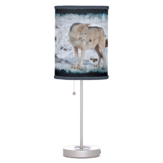 White Grey Wolf and Snow Winter Wildlife Photo Table Lamp