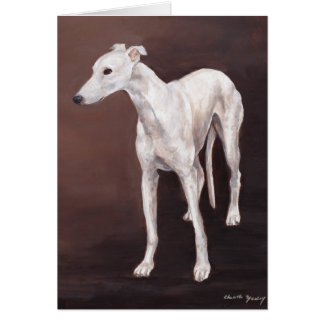 White Greyhound Dog Art Greeting Card