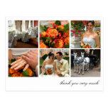 White grid collage 6 photos memories thank you postcard