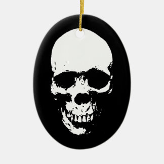 White Grim Reaper Skull Ceramic Ornament