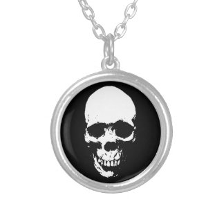 White Grim Reaper Skull Silver Plated Necklace