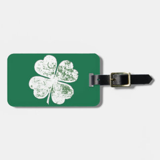 White Grungy Four-Leaf Clover on Green Ground Luggage Tag