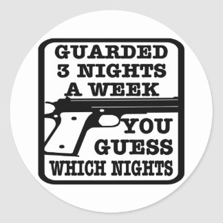 White Guarded 3 Nights Week Round Sticker
