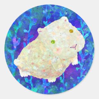 white guinea pig classic round sticker