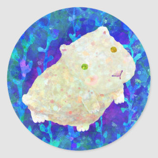 white guinea pig round sticker