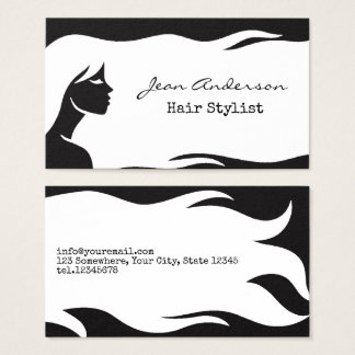 White Hair Stylist long curly Girl Hair Salon Business Card
