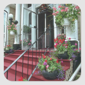 White Halifax Inn flowers Square Sticker