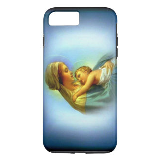 White Halo Blessed Virgin Mary with Child Jesus iPhone 7 Plus Case