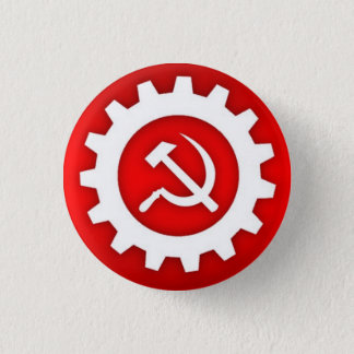 White Hammer and Sickle Pin w/White Gear