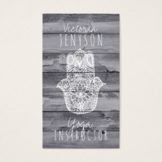 White Hamsa hand of fatima wood yoga instructor Business Card