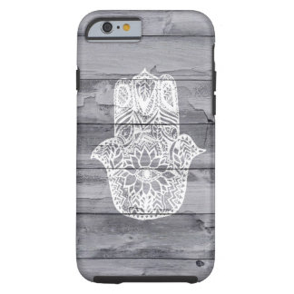 White hand drawn Hamsa hand of fatima on wood Tough iPhone 6 Case