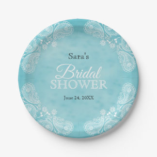 White Hand Drawn Paisley Teal Rustic Bridal Shower Paper Plate