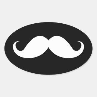 White handlebar mustache on black background oval sticker