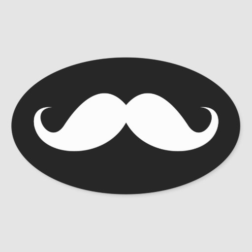 White handlebar mustache on black background oval stickers