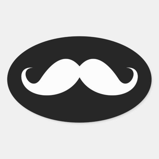 White handlebar mustache on black background oval stickers