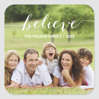 White Handwriting Believe | Holiday Photo Sticker