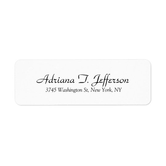 White Handwriting Professional Elegant Simple Mode Return Address Label