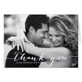White Handwritten Script Wedding Thank You Card