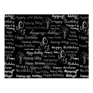 White Happy Birthday Wishes on Black Print Postcard