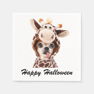 White Happy Halloween Chihuahua Paper Napkins
