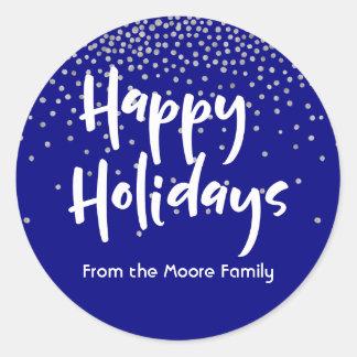 White Happy Holidays w/ Navy & Silver Confetti Classic Round Sticker