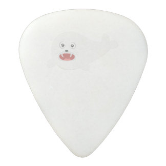 White happy Seal Zioq8 Acetal Guitar Pick