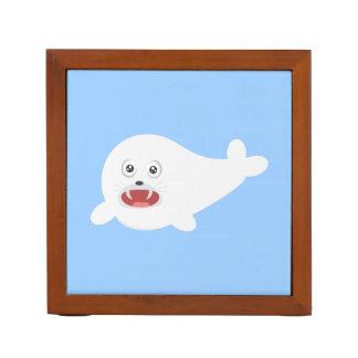 White happy Seal Zioq8 Desk Organizer