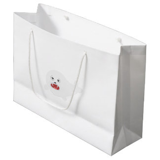 White happy Seal Zioq8 Large Gift Bag