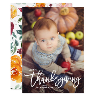 White Happy Thanksgiving Hand Lettering Photo II Card